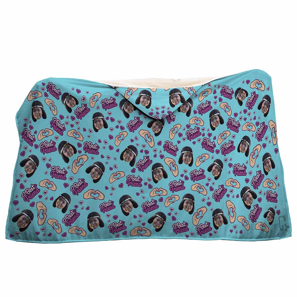 blue BFF for Her hooded blanket personalized with photo of face printed on it
