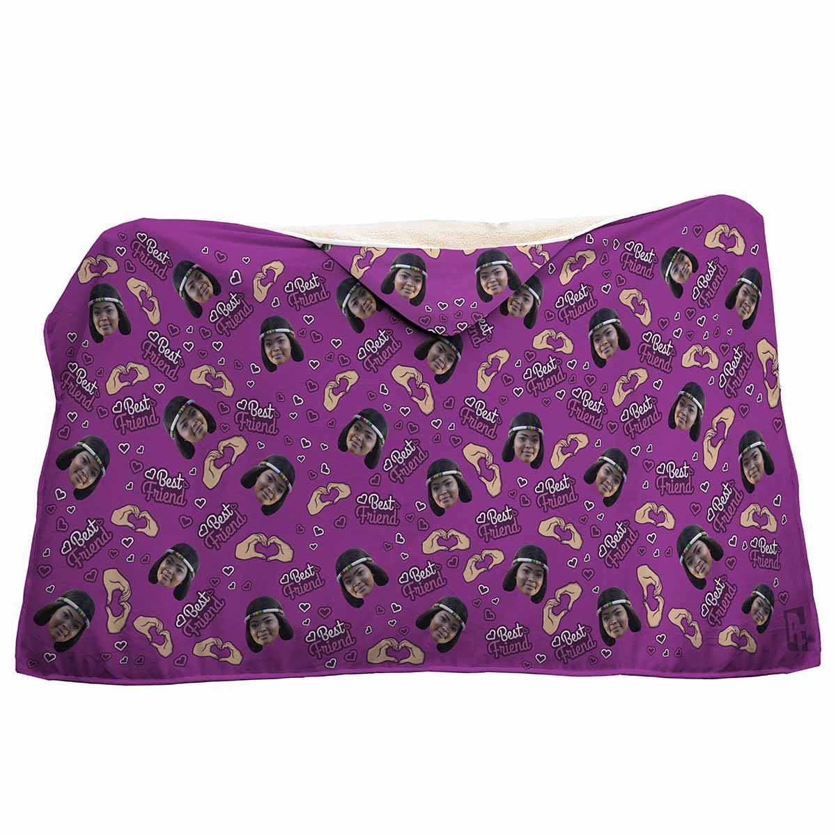purple BFF for Her hooded blanket personalized with photo of face printed on it