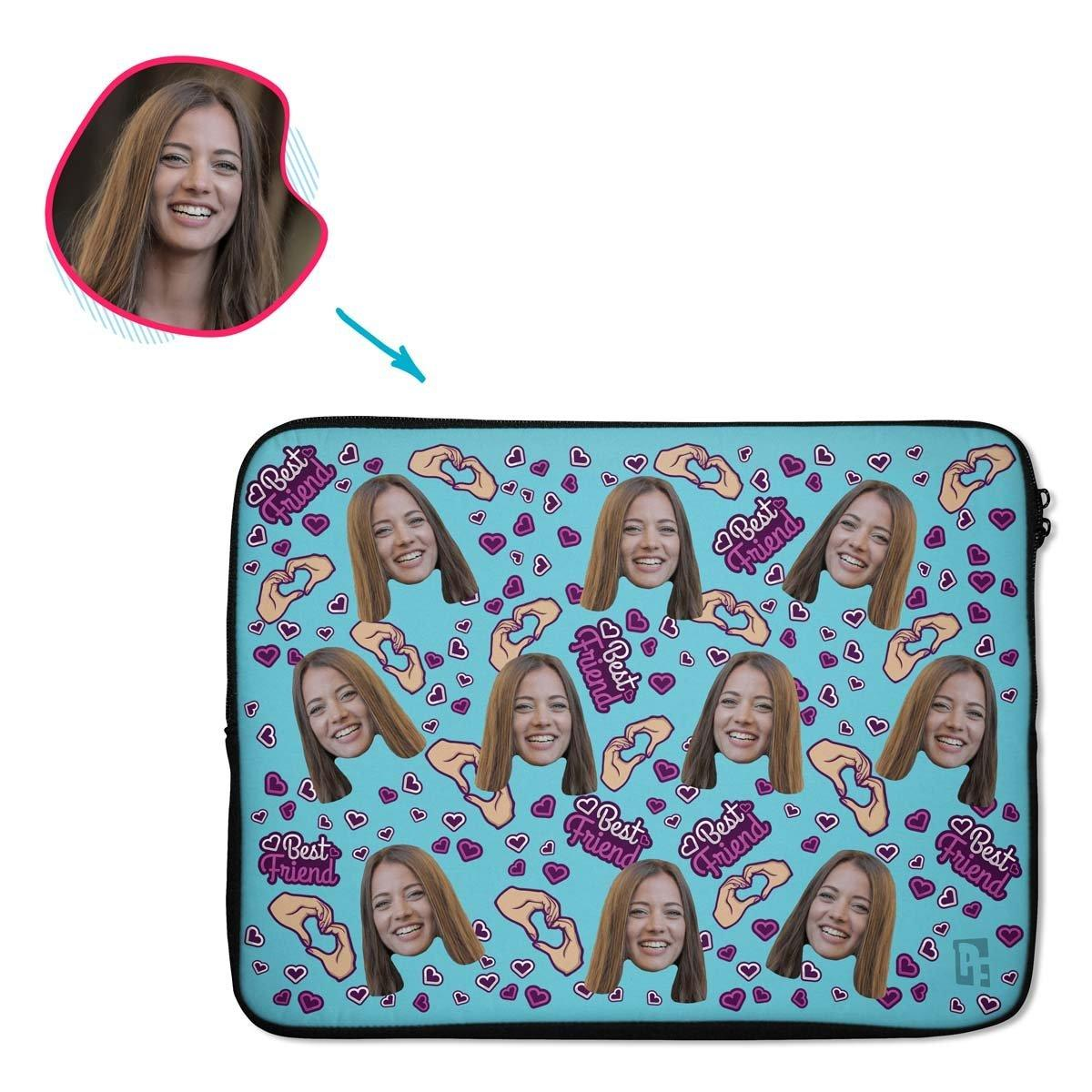 blue BFF for Her laptop sleeve personalized with photo of face printed on them