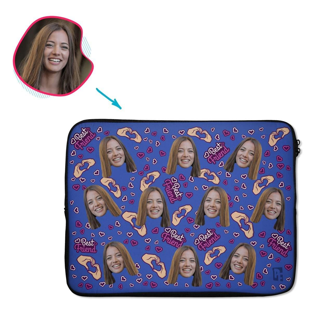 darkblue BFF for Her laptop sleeve personalized with photo of face printed on them