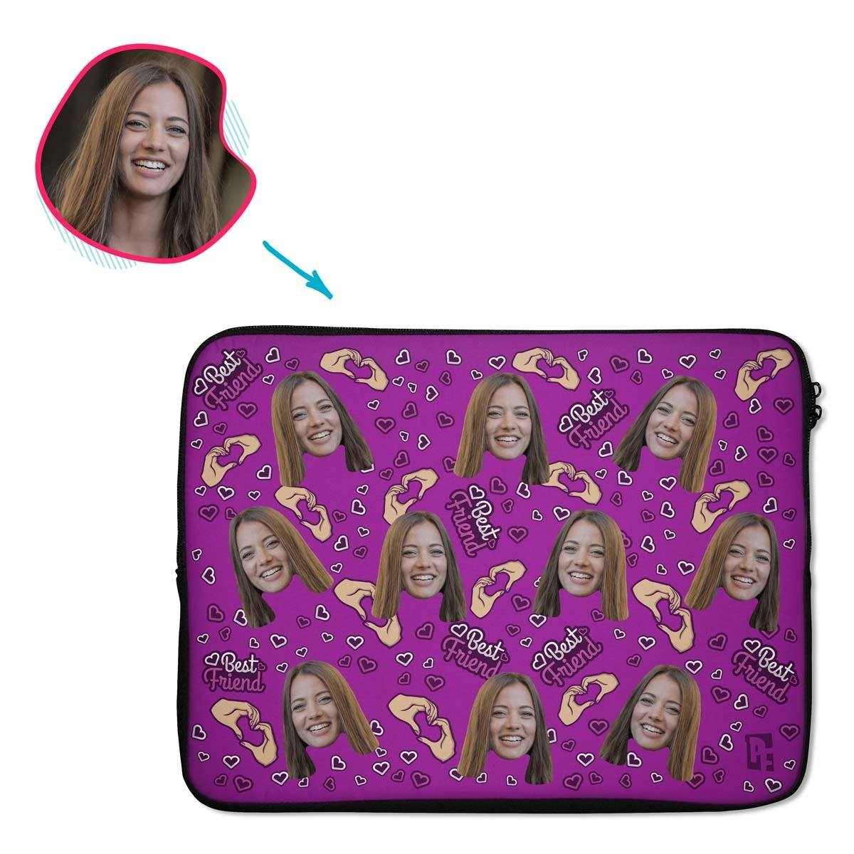 purple BFF for Her laptop sleeve personalized with photo of face printed on them