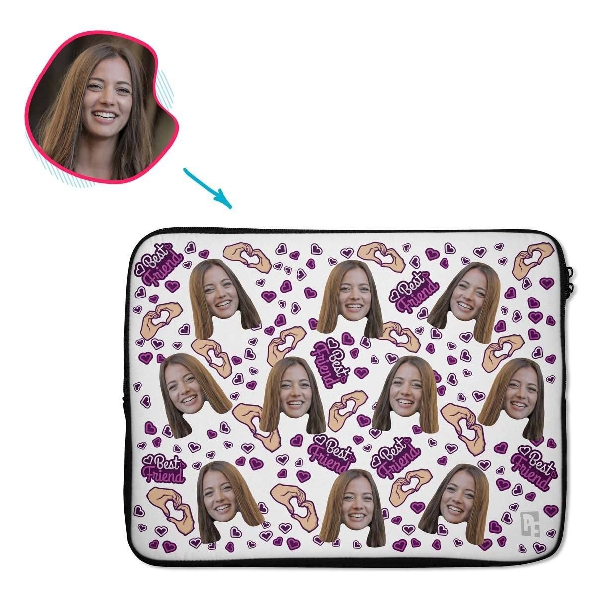 white BFF for Her laptop sleeve personalized with photo of face printed on them