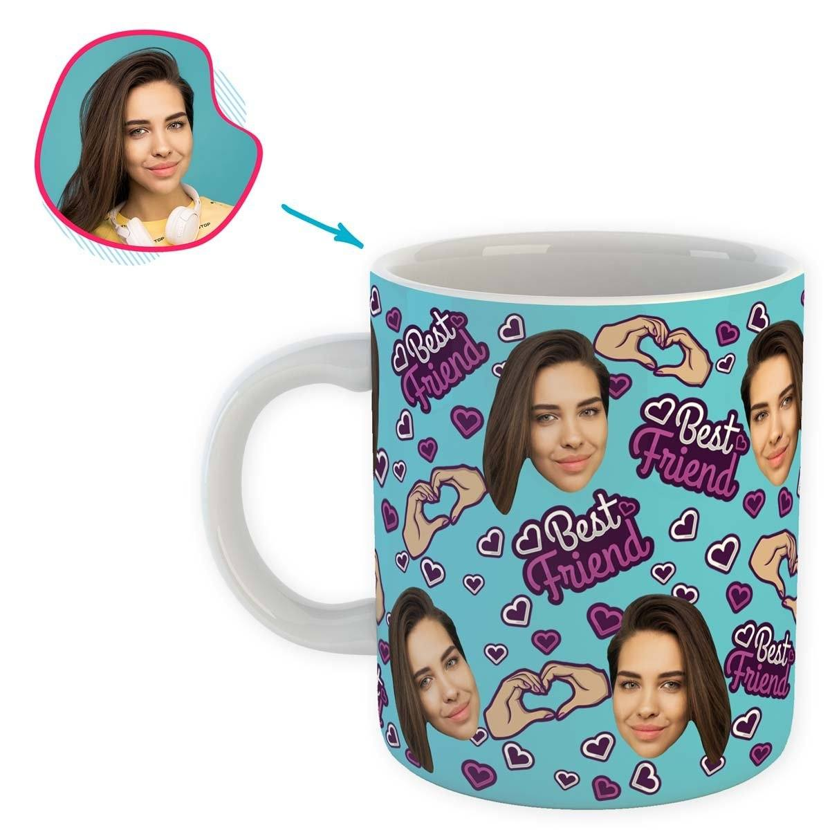 blue BFF for Her mug personalized with photo of face printed on it
