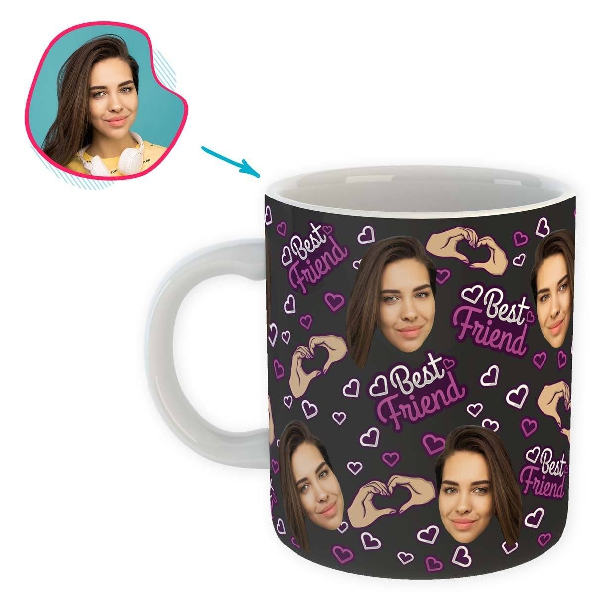 dark BFF for Her mug personalized with photo of face printed on it