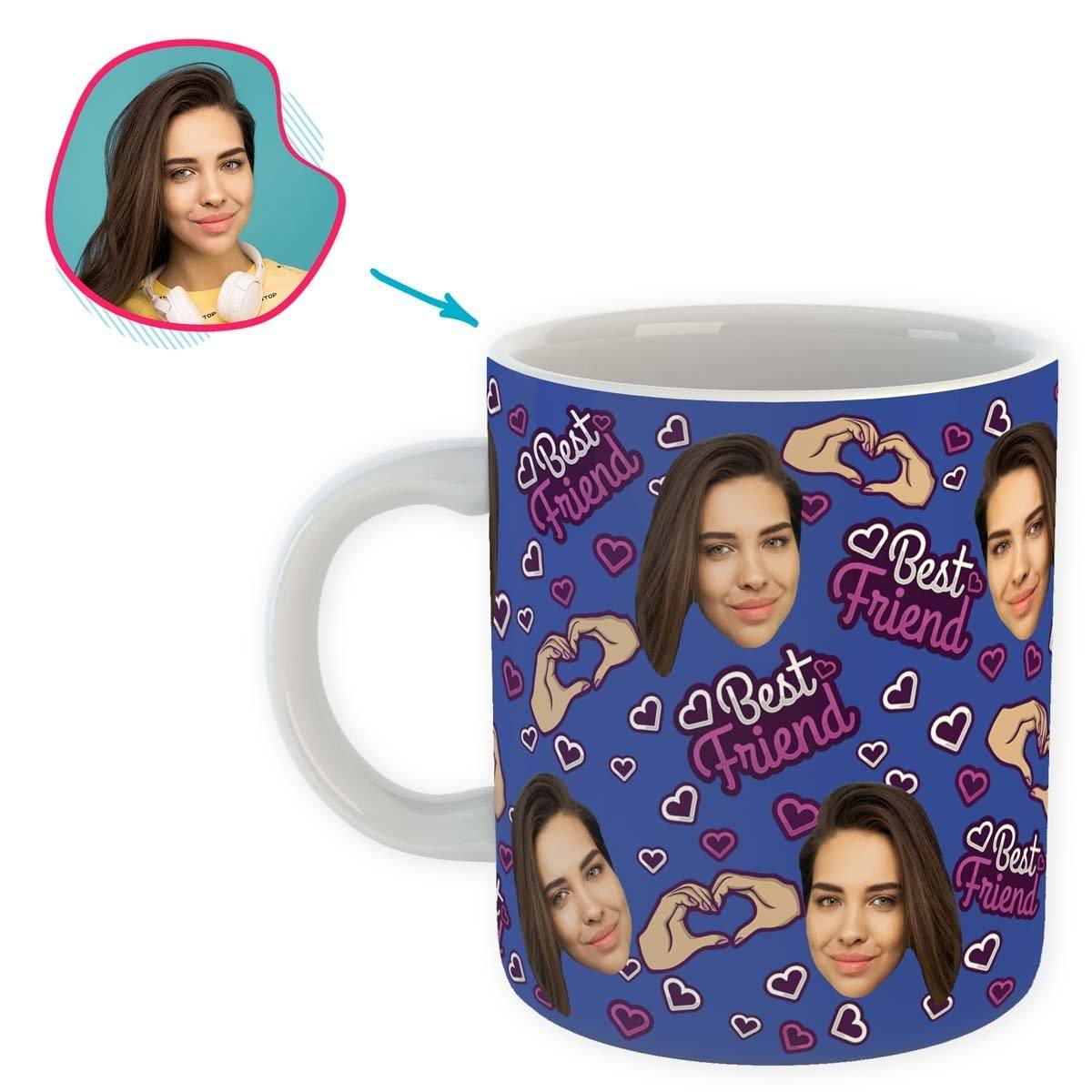 darkblue BFF for Her mug personalized with photo of face printed on it