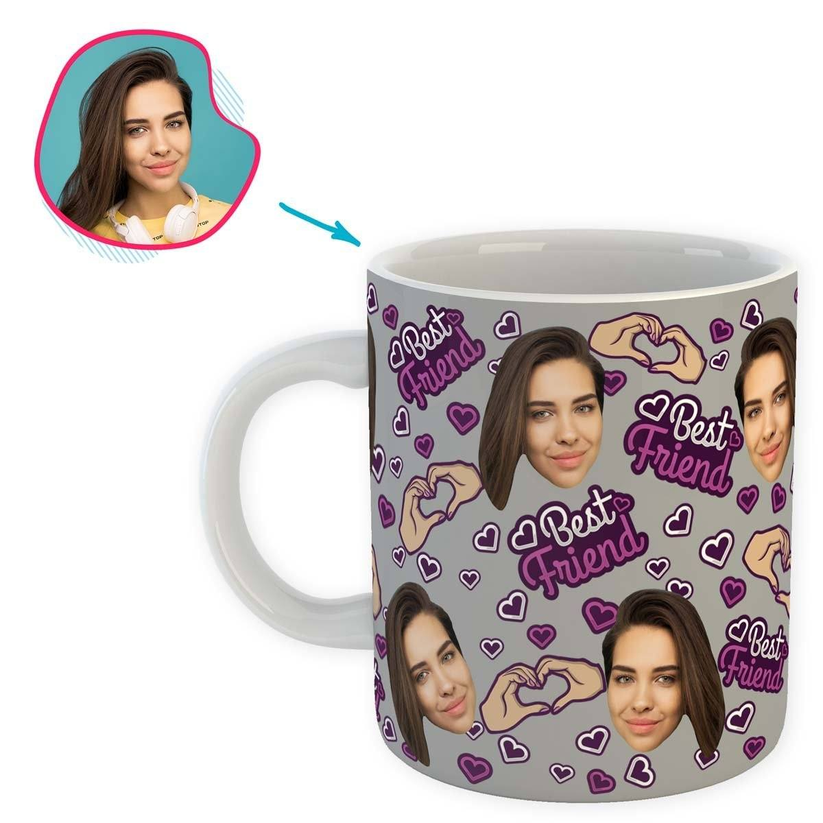grey BFF for Her mug personalized with photo of face printed on it