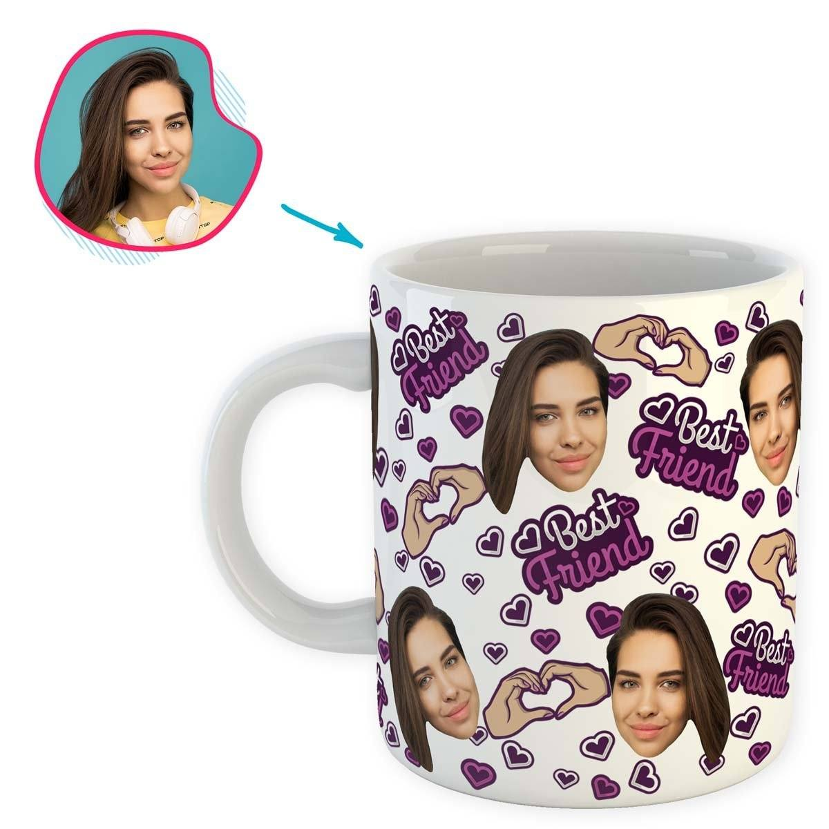 white BFF for Her mug personalized with photo of face printed on it