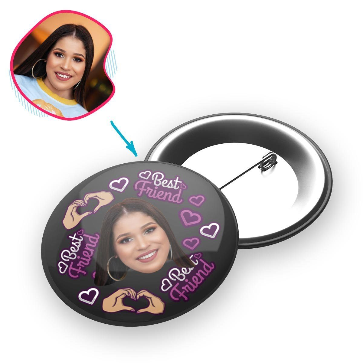 dark BFF for Her pin personalized with photo of face printed on it