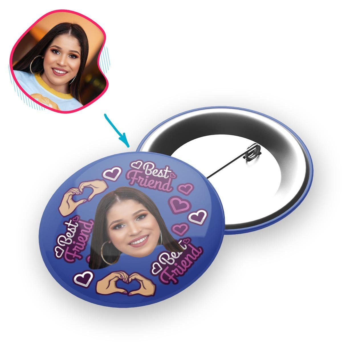 darkblue BFF for Her pin personalized with photo of face printed on it