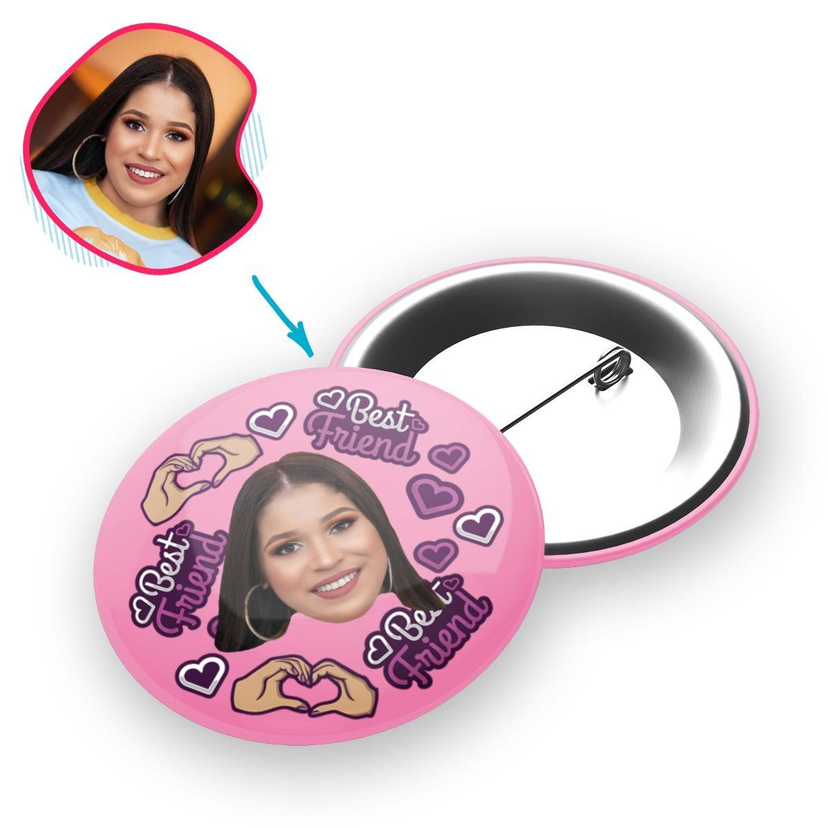BFF for Her Personalized Pin Button