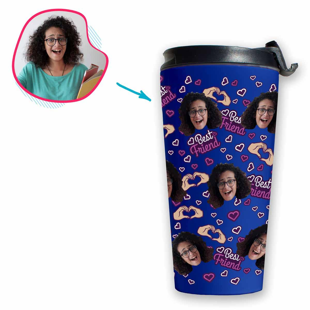 darkblue BFF for Her travel mug personalized with photo of face printed on it
