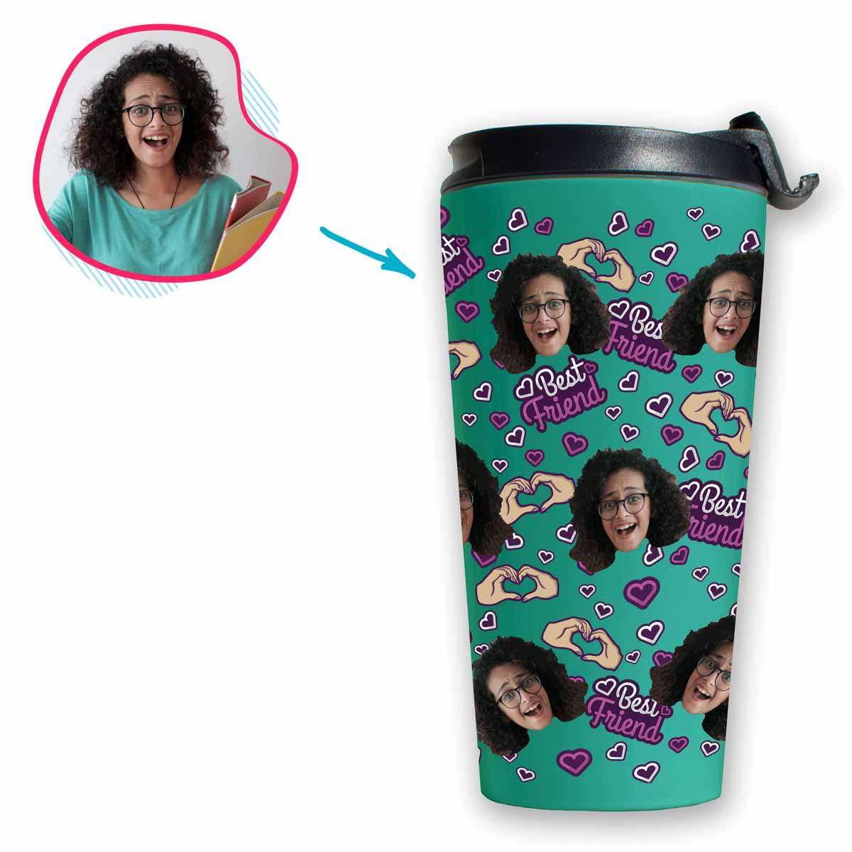 mint BFF for Her travel mug personalized with photo of face printed on it