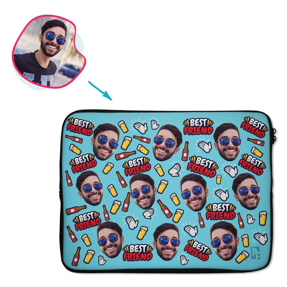 blue BFF for Him laptop sleeve personalized with photo of face printed on them