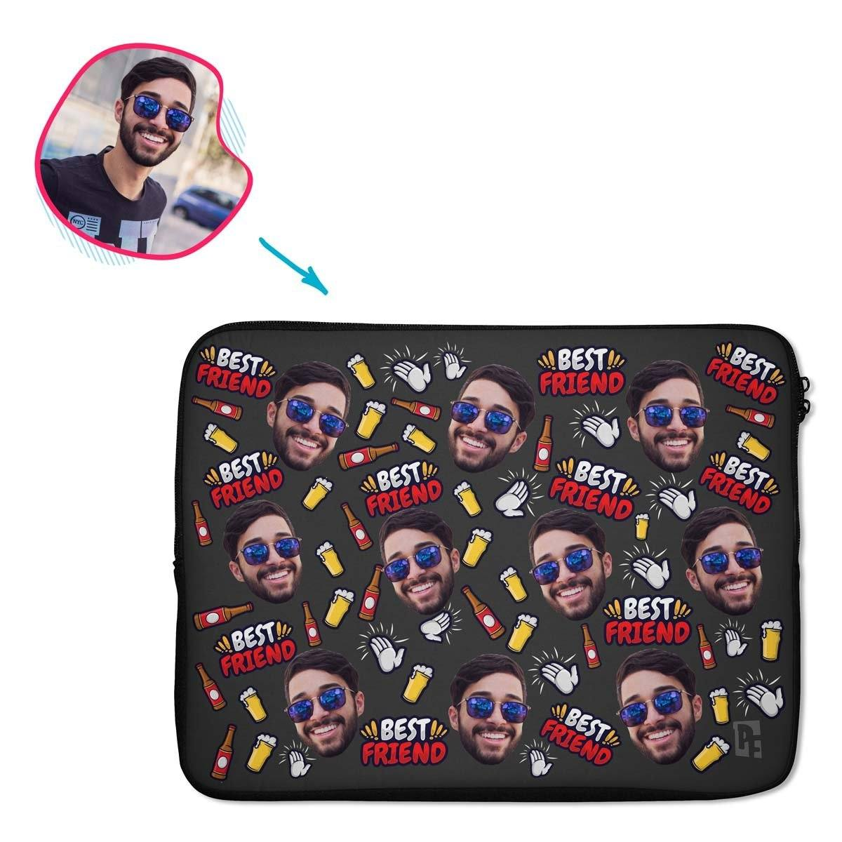 dark BFF for Him laptop sleeve personalized with photo of face printed on them