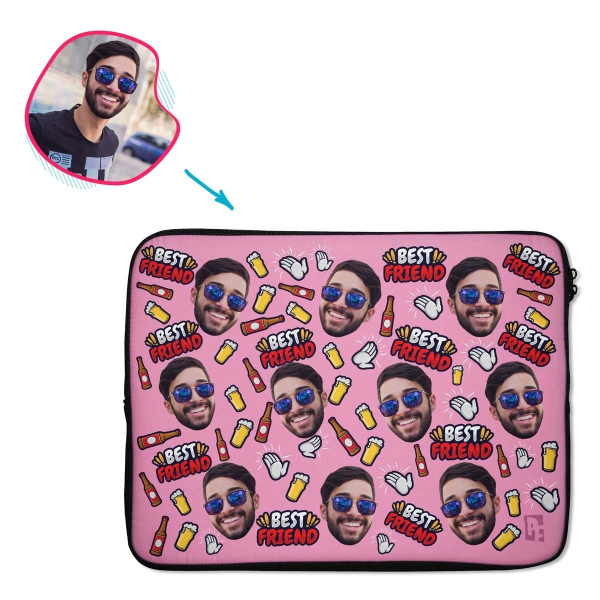 pink BFF for Him laptop sleeve personalized with photo of face printed on them
