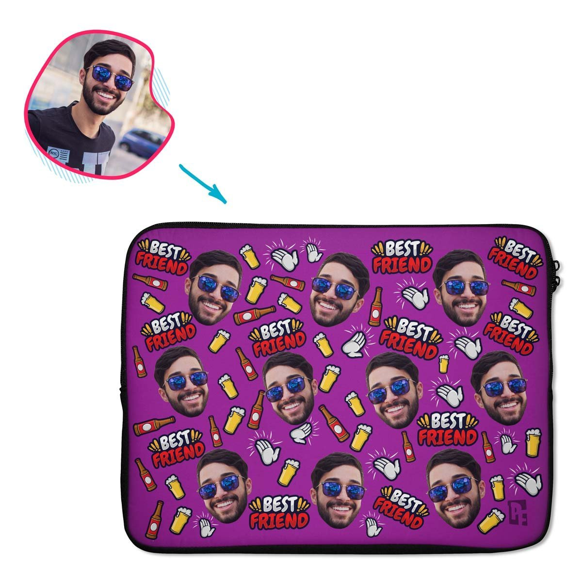 purple BFF for Him laptop sleeve personalized with photo of face printed on them