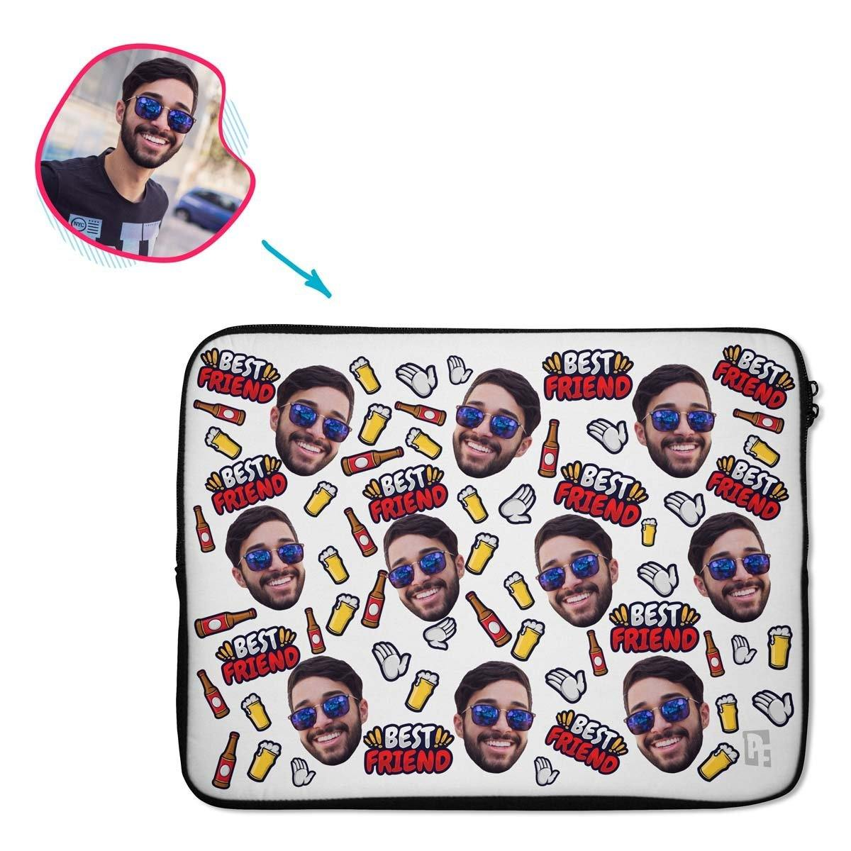 white BFF for Him laptop sleeve personalized with photo of face printed on them