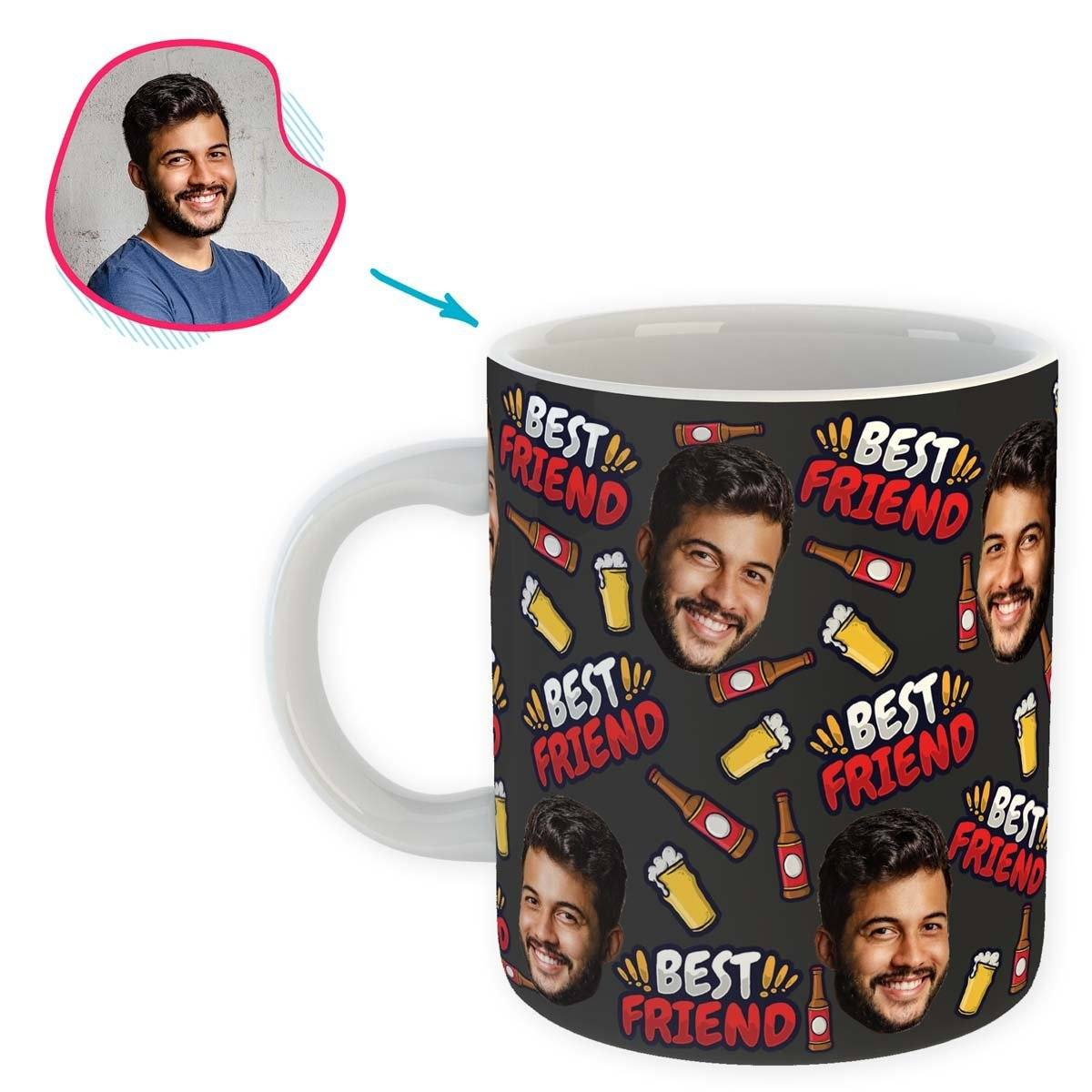 dark BFF for Him mug personalized with photo of face printed on it