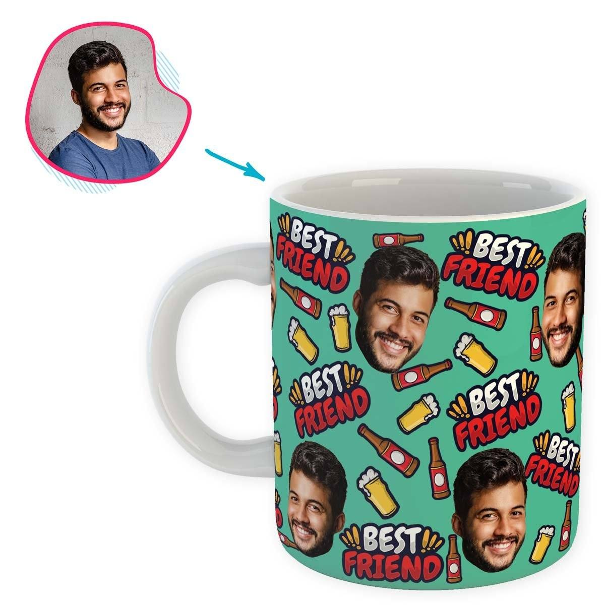 mint BFF for Him mug personalized with photo of face printed on it