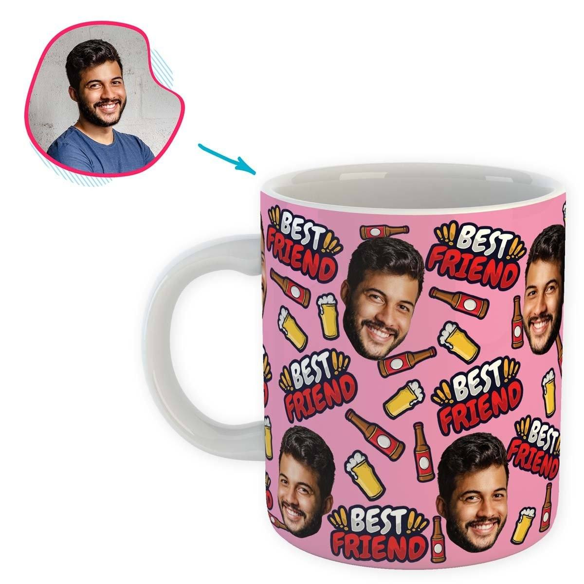 pink BFF for Him mug personalized with photo of face printed on it