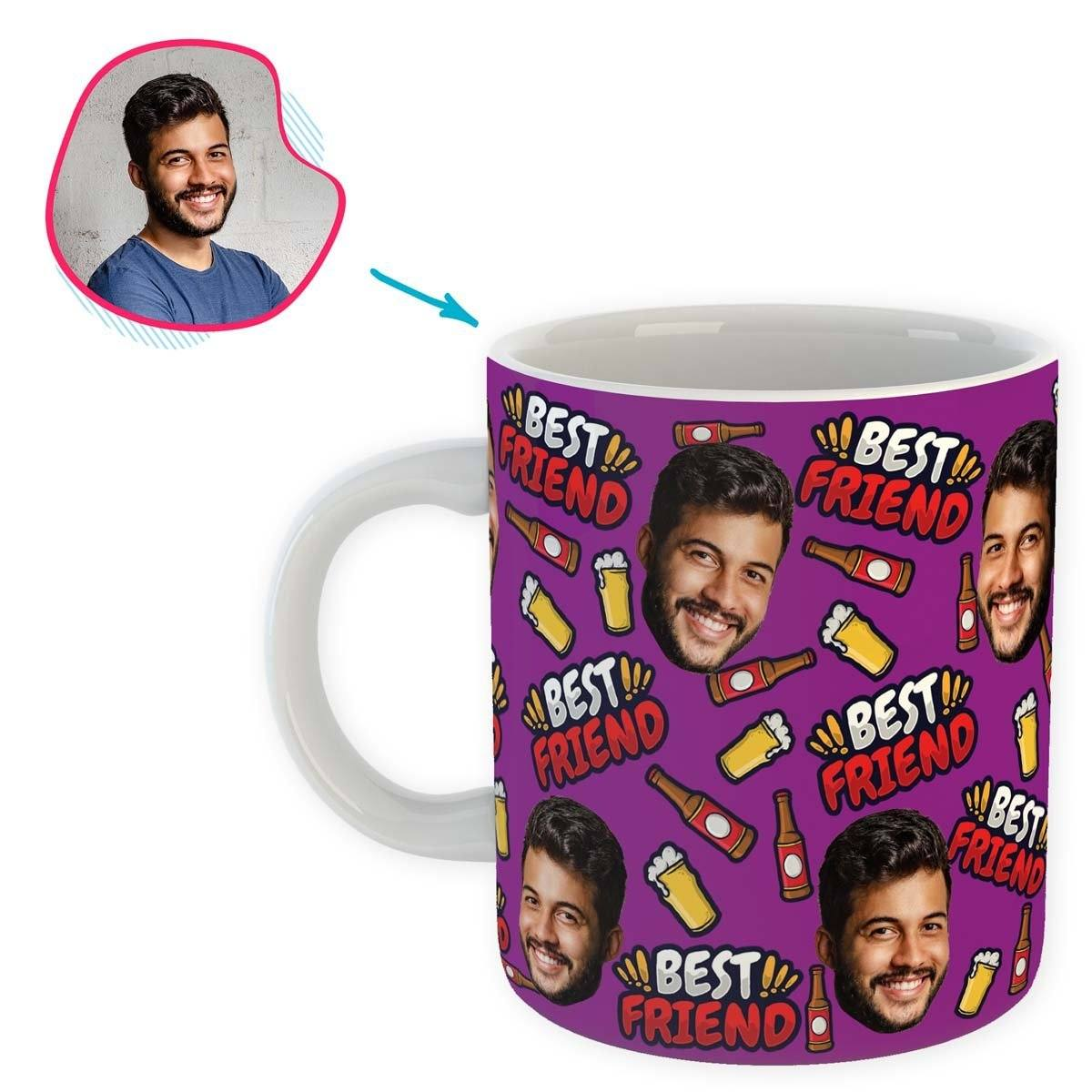 purple BFF for Him mug personalized with photo of face printed on it