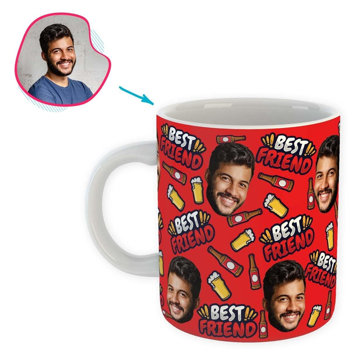 red BFF for Him mug personalized with photo of face printed on it