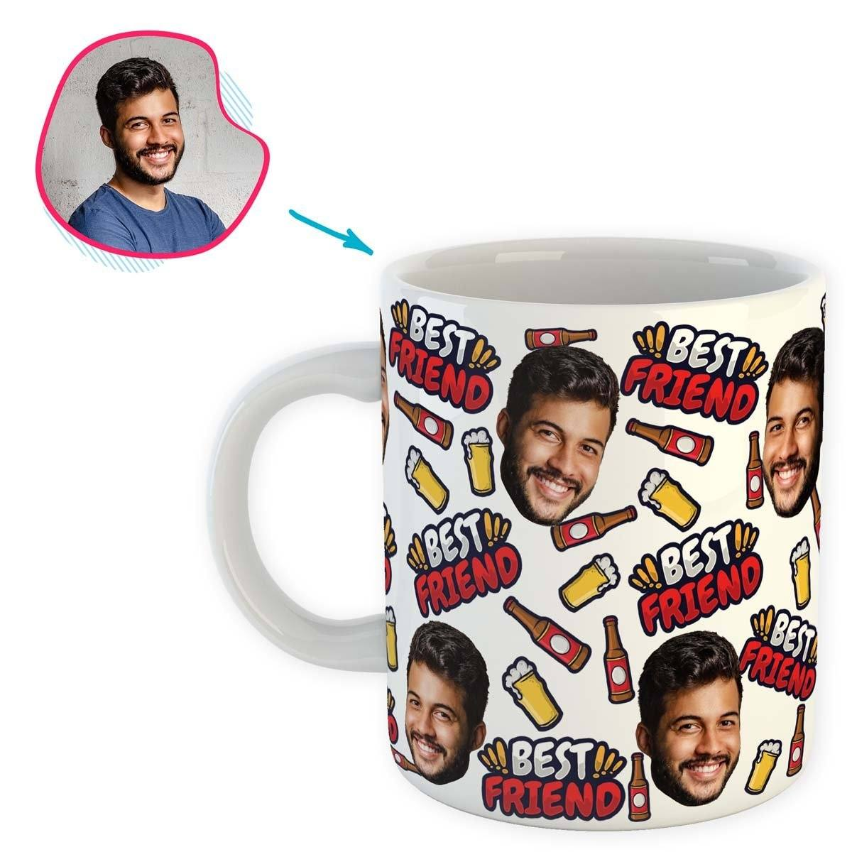white BFF for Him mug personalized with photo of face printed on it
