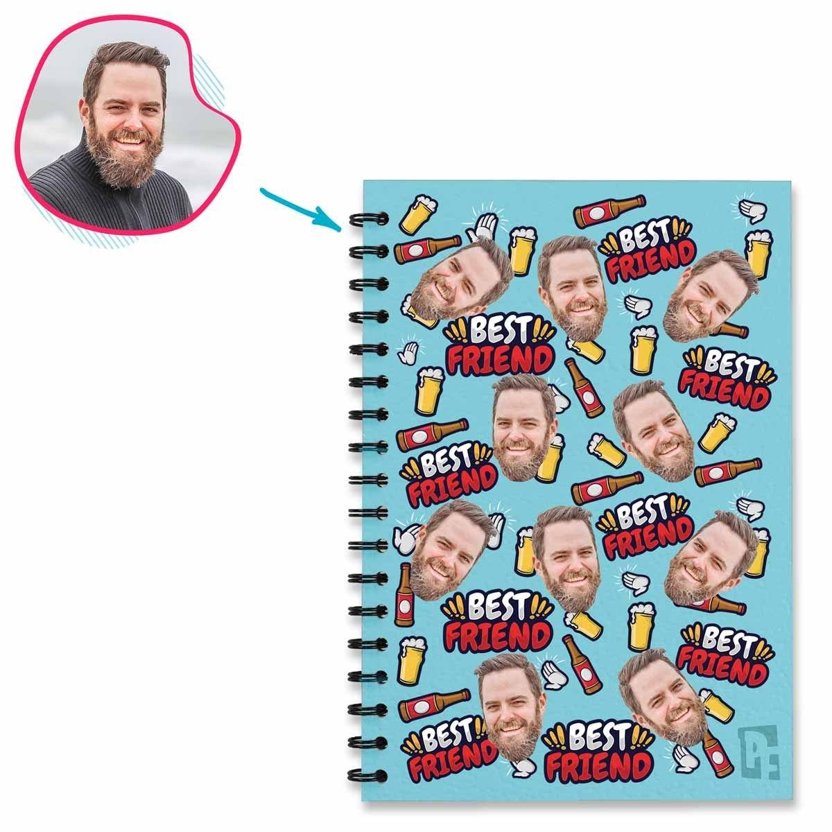 blue BFF for Him Notebook personalized with photo of face printed on them