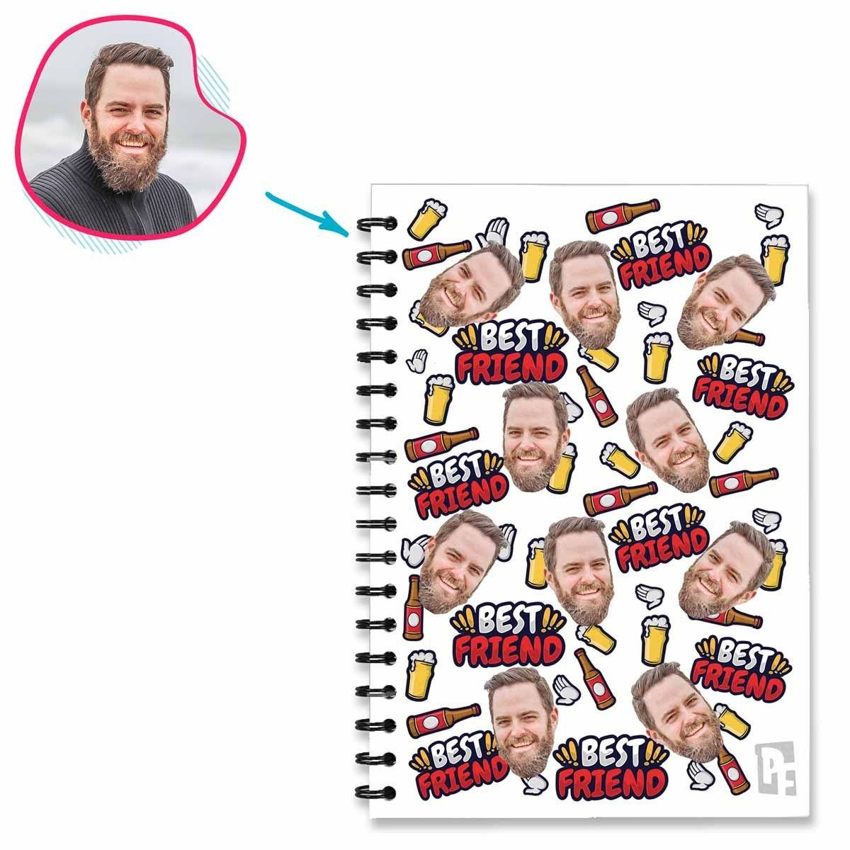 white BFF for Him Notebook personalized with photo of face printed on them