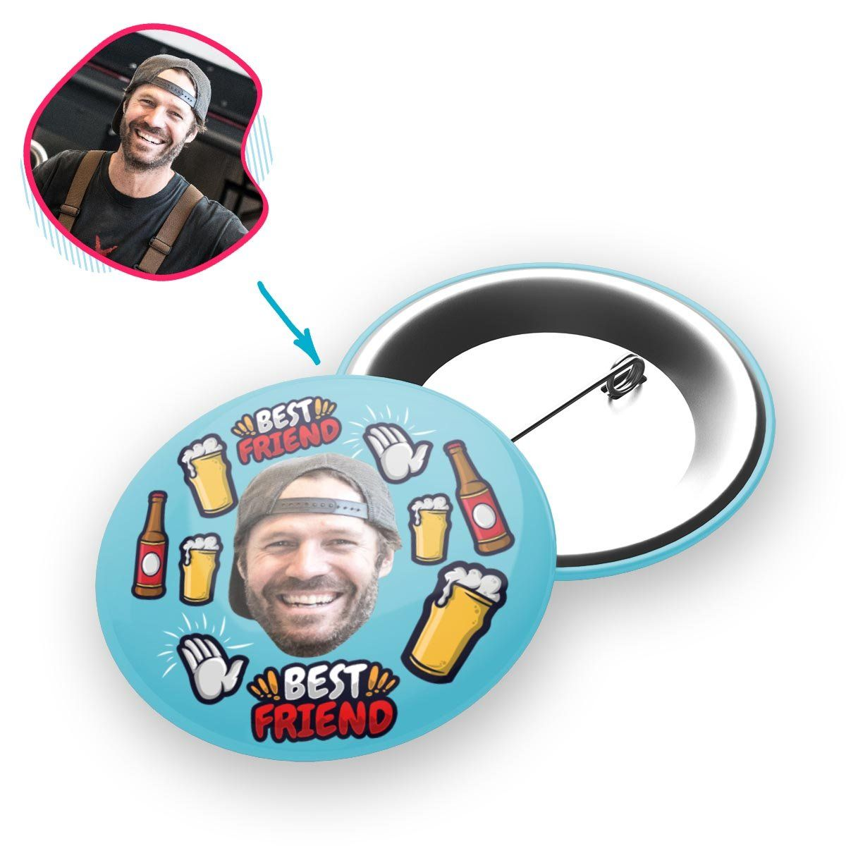 blue BFF for Him pin personalized with photo of face printed on it