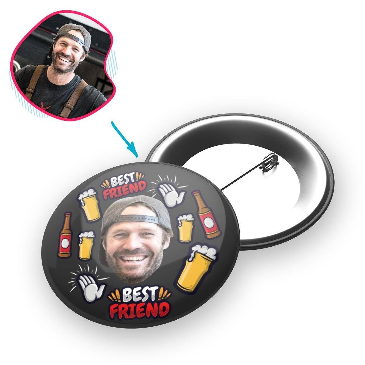 dark BFF for Him pin personalized with photo of face printed on it