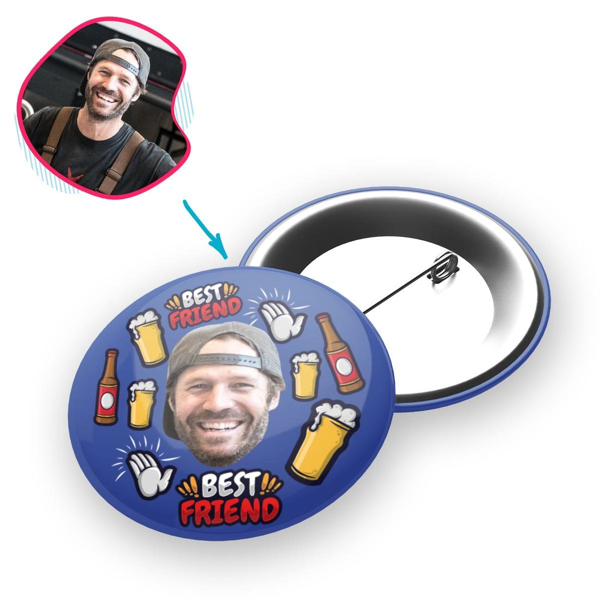 darkblue BFF for Him pin personalized with photo of face printed on it