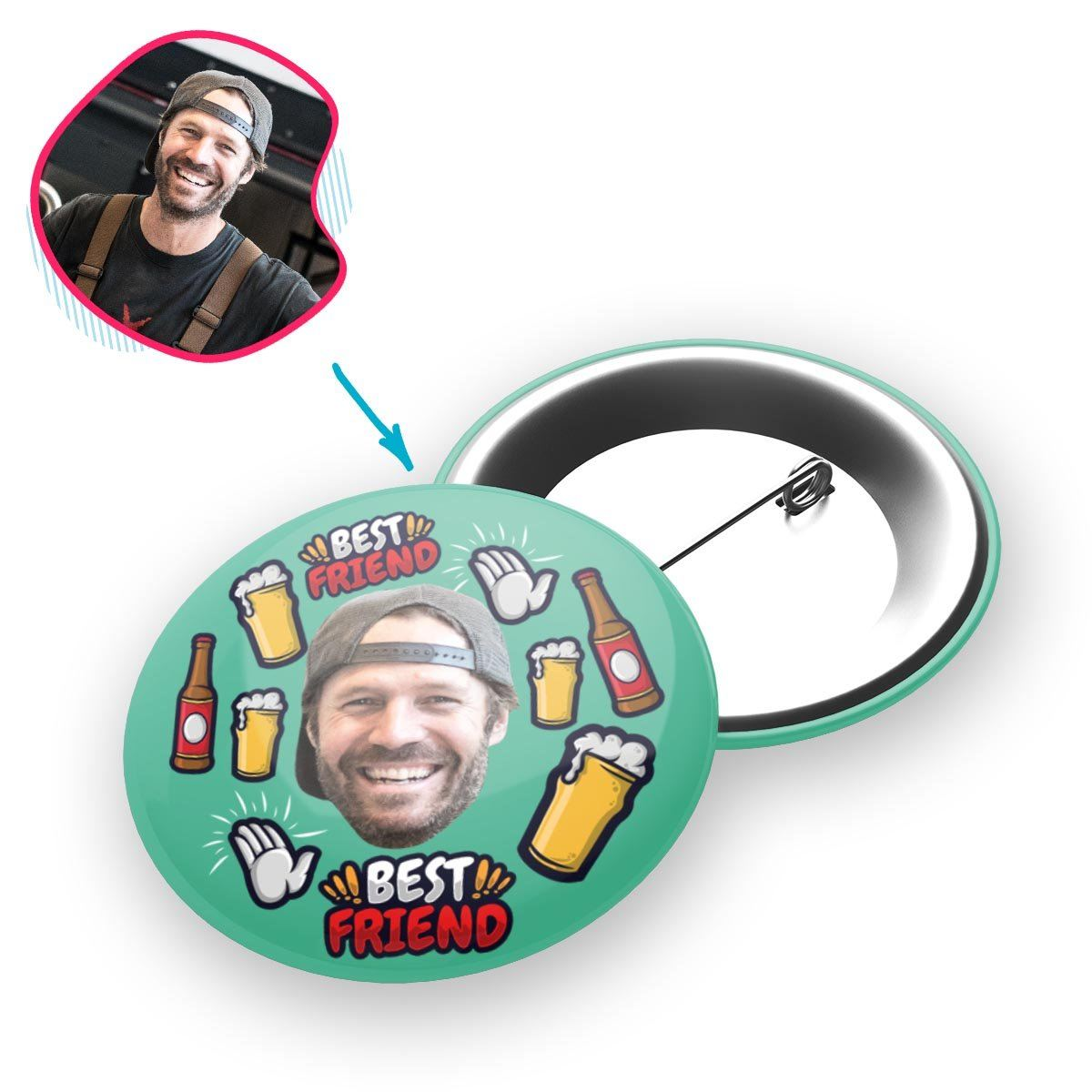 mint BFF for Him pin personalized with photo of face printed on it