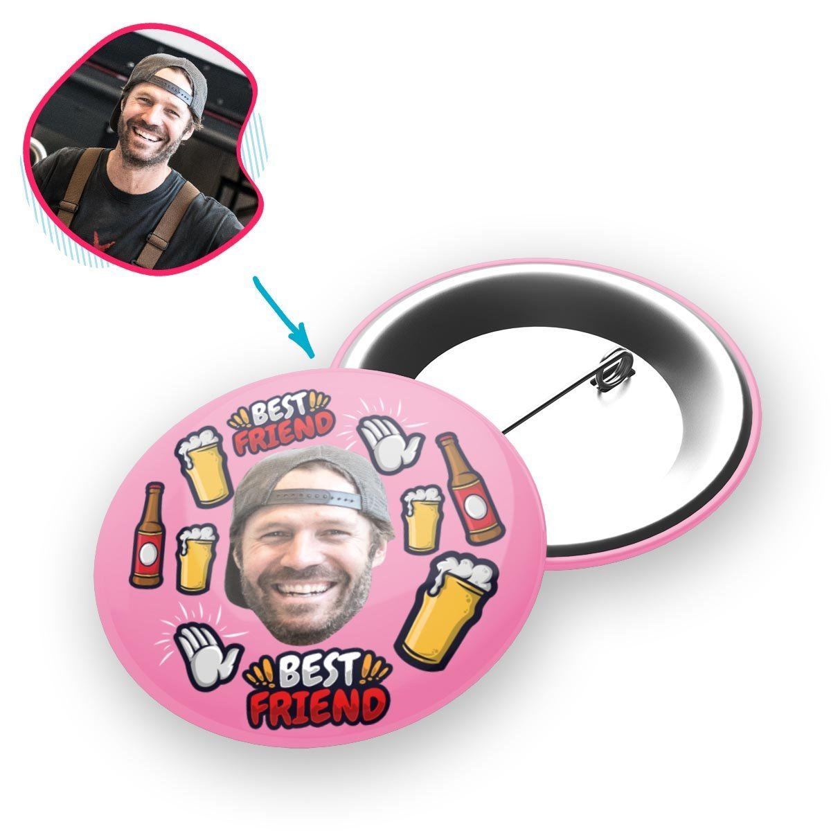 pink BFF for Him pin personalized with photo of face printed on it