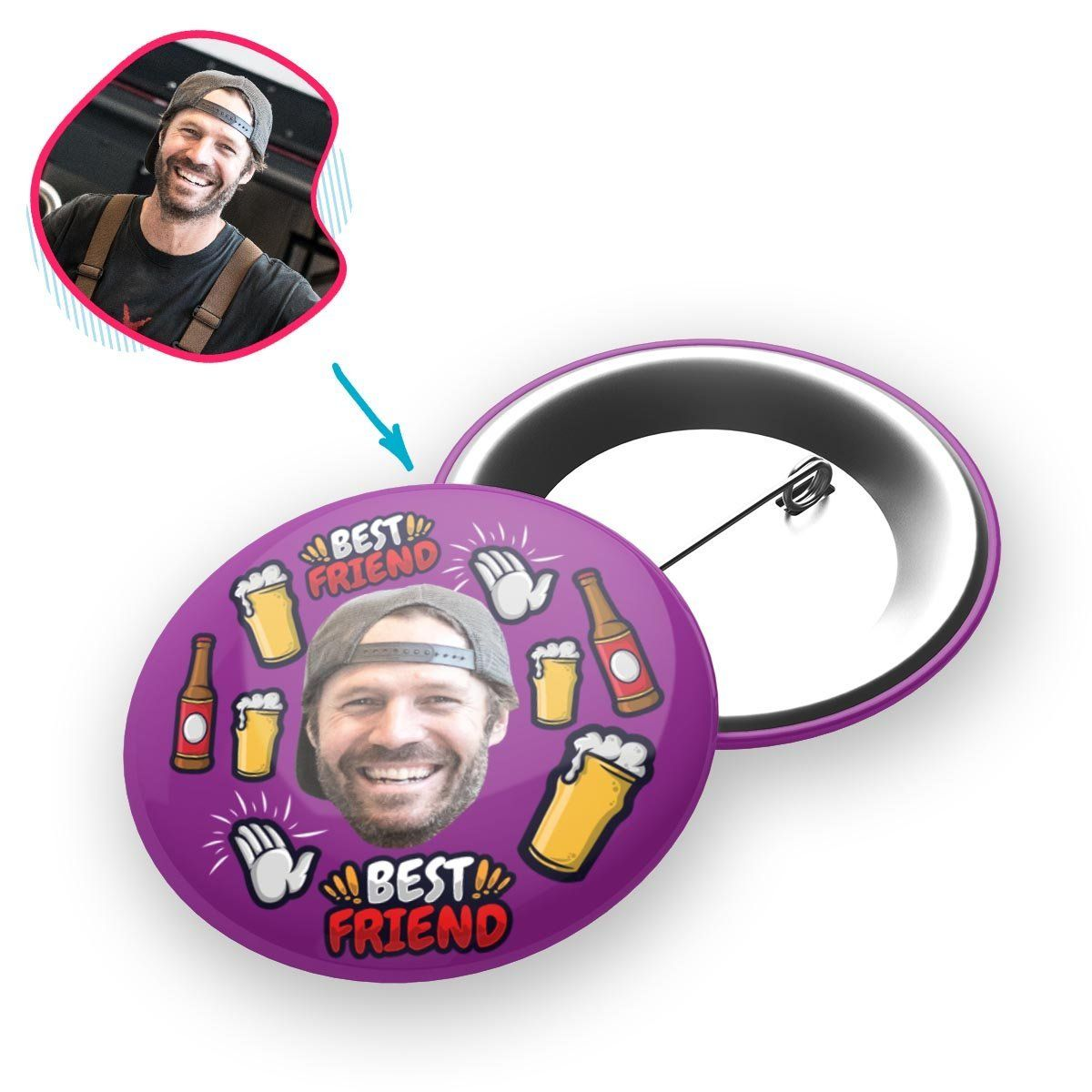 purple BFF for Him pin personalized with photo of face printed on it