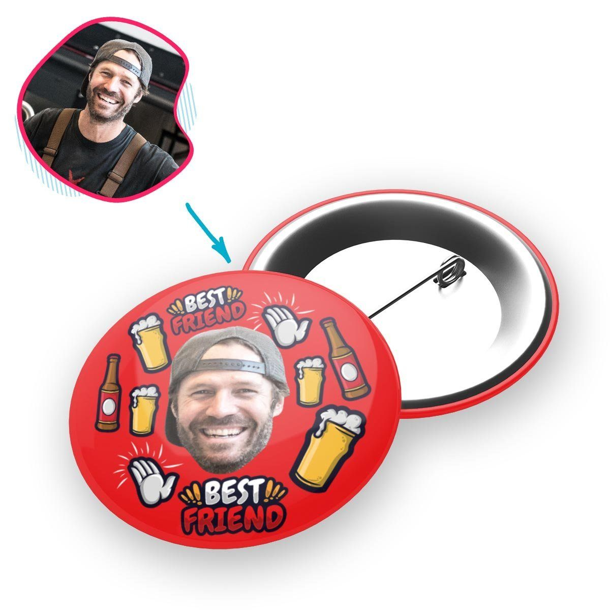 BFF for Him Personalized Pin Button