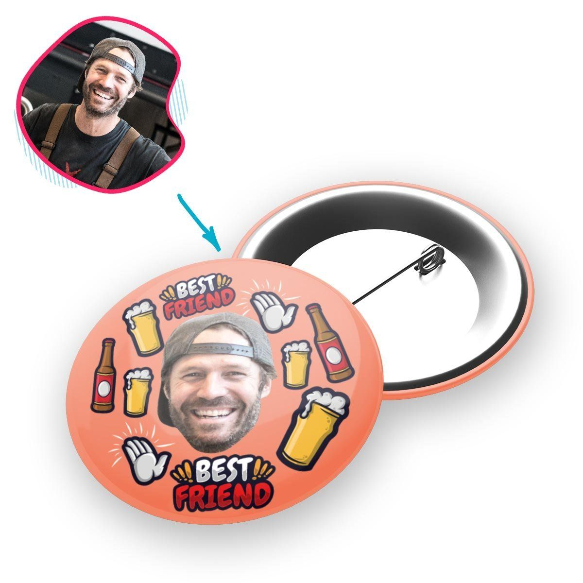 salmon BFF for Him pin personalized with photo of face printed on it