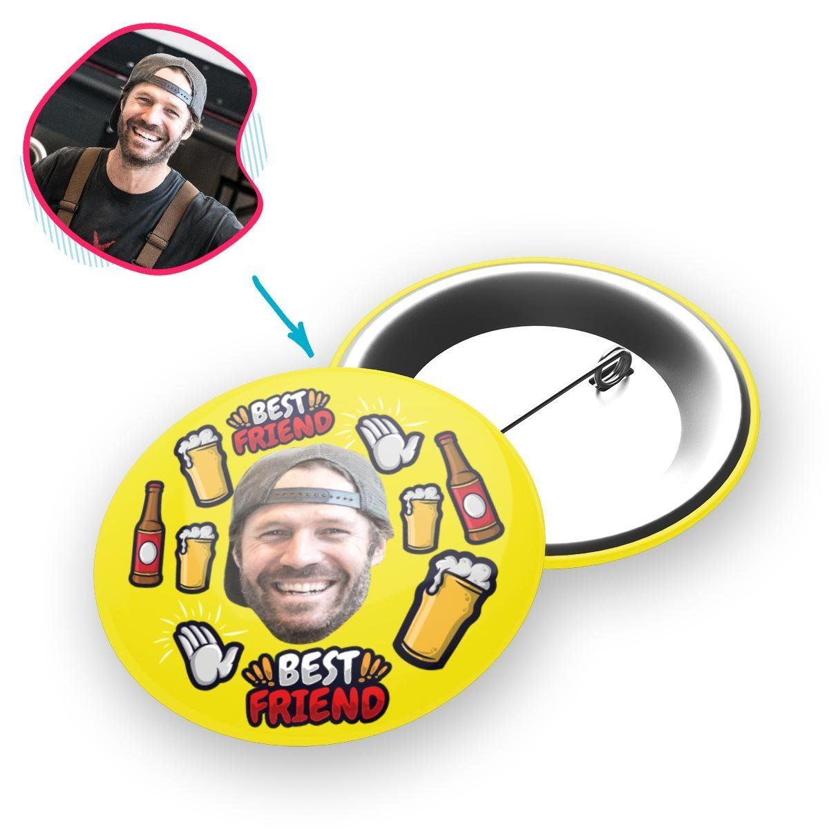 yellow BFF for Him pin personalized with photo of face printed on it
