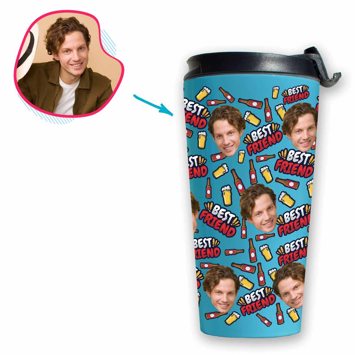 blue BFF for Him travel mug personalized with photo of face printed on it