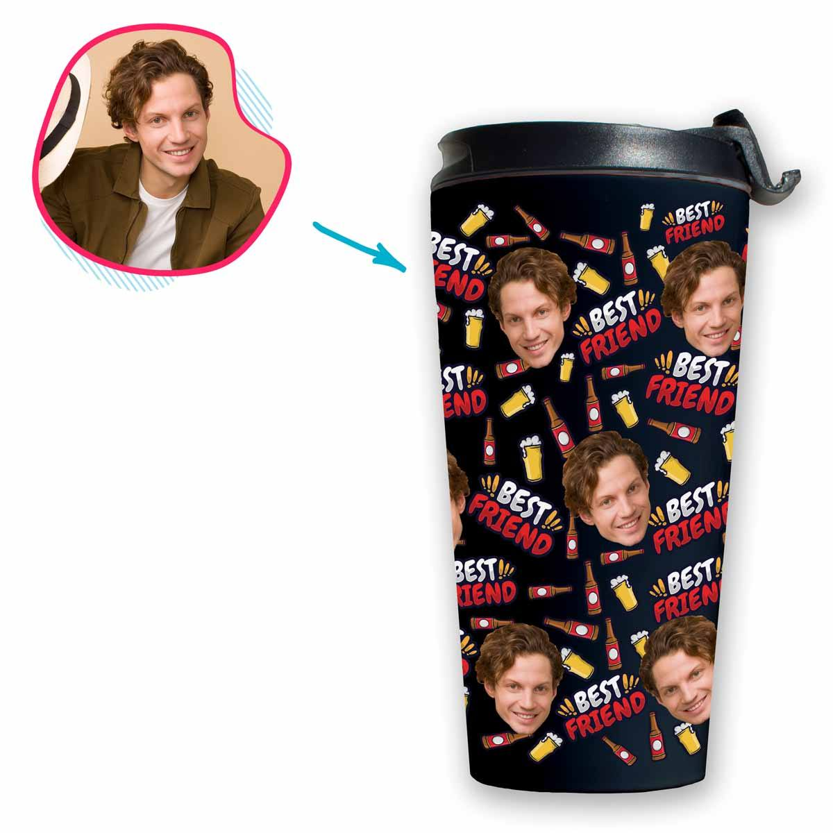 dark BFF for Him travel mug personalized with photo of face printed on it
