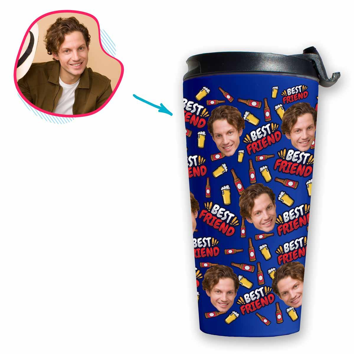 darkblue BFF for Him travel mug personalized with photo of face printed on it