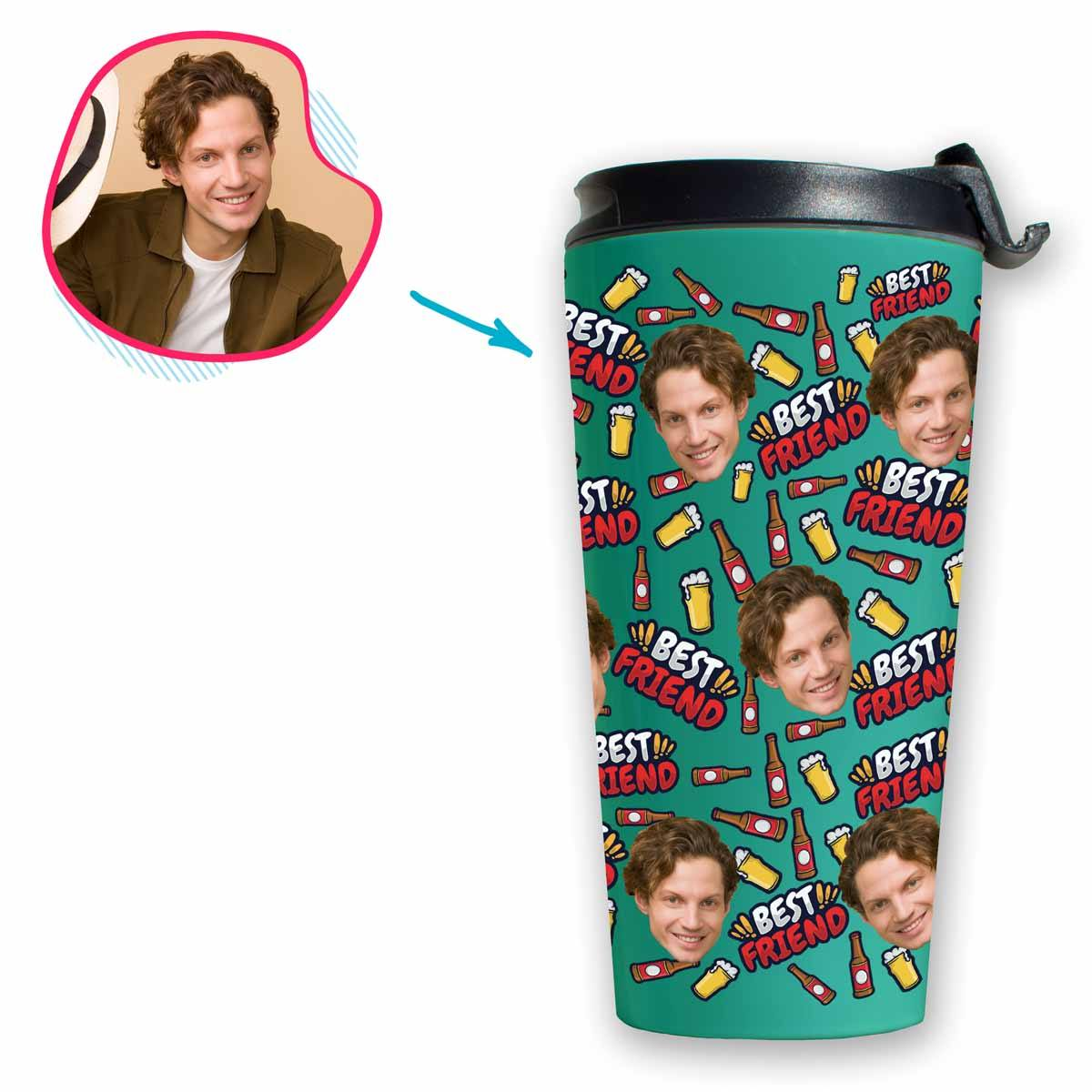 mint BFF for Him travel mug personalized with photo of face printed on it