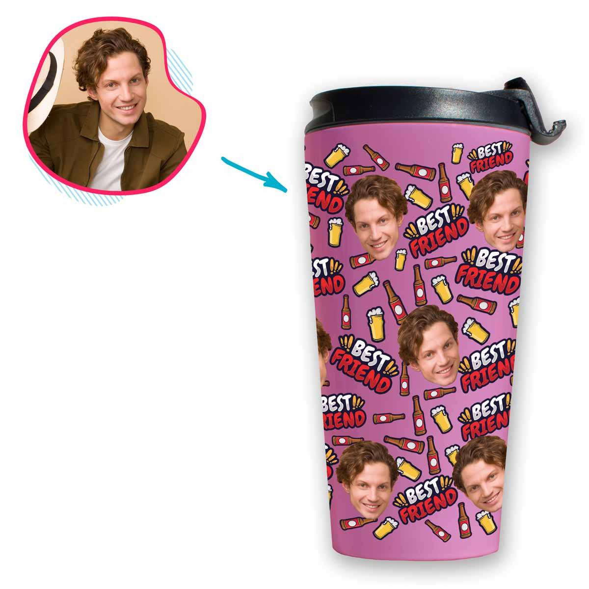 pink BFF for Him travel mug personalized with photo of face printed on it