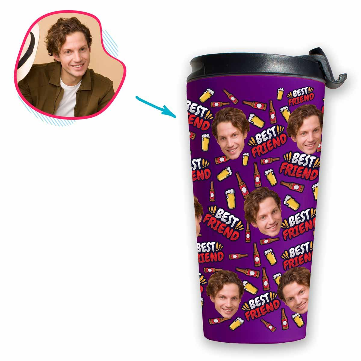 purple BFF for Him travel mug personalized with photo of face printed on it