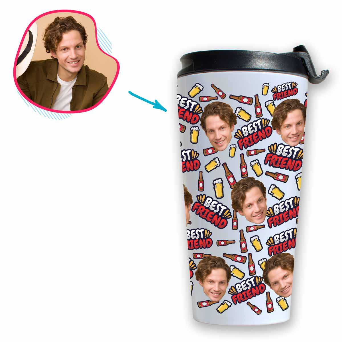 white BFF for Him travel mug personalized with photo of face printed on it