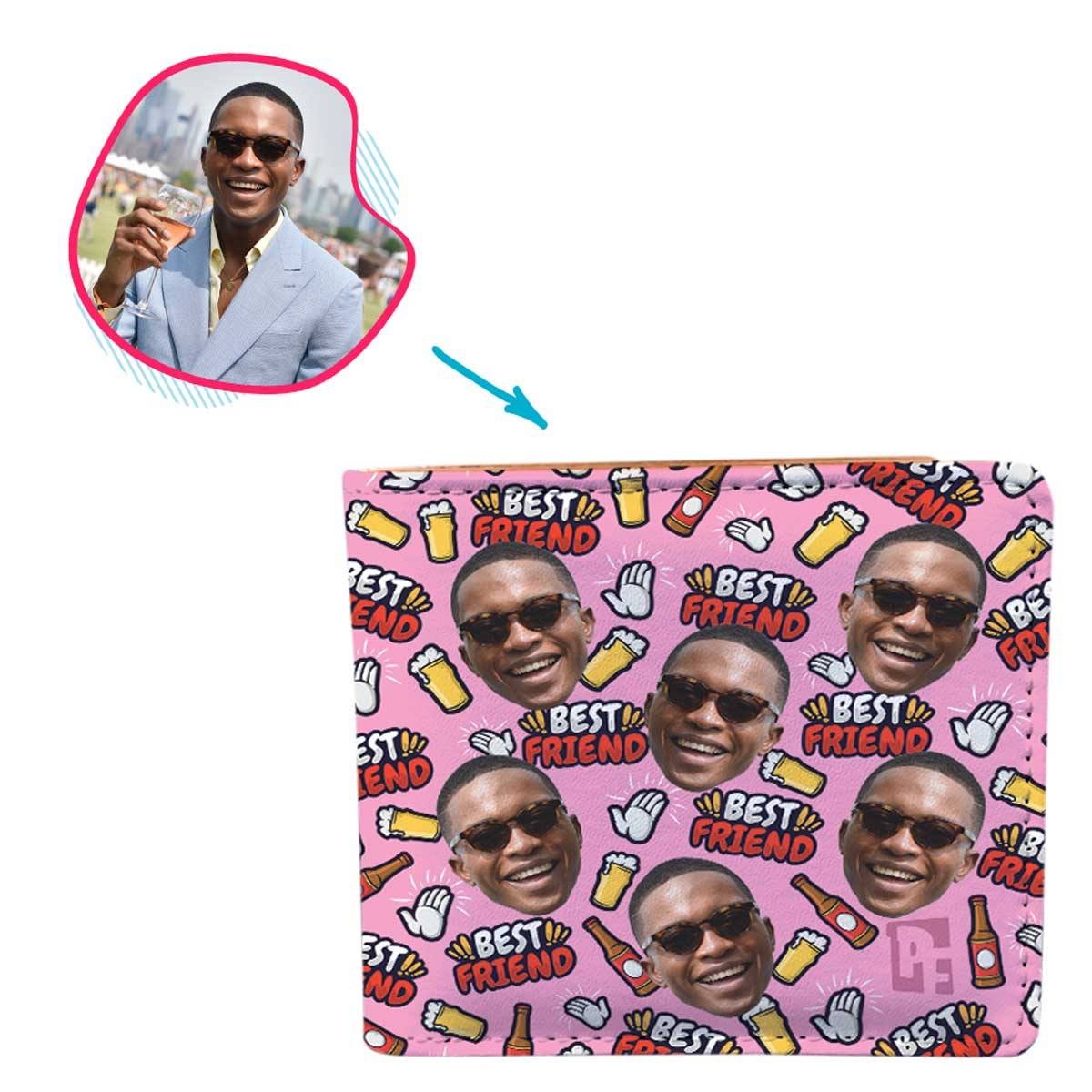 pink BFF for Him wallet personalized with photo of face printed on it