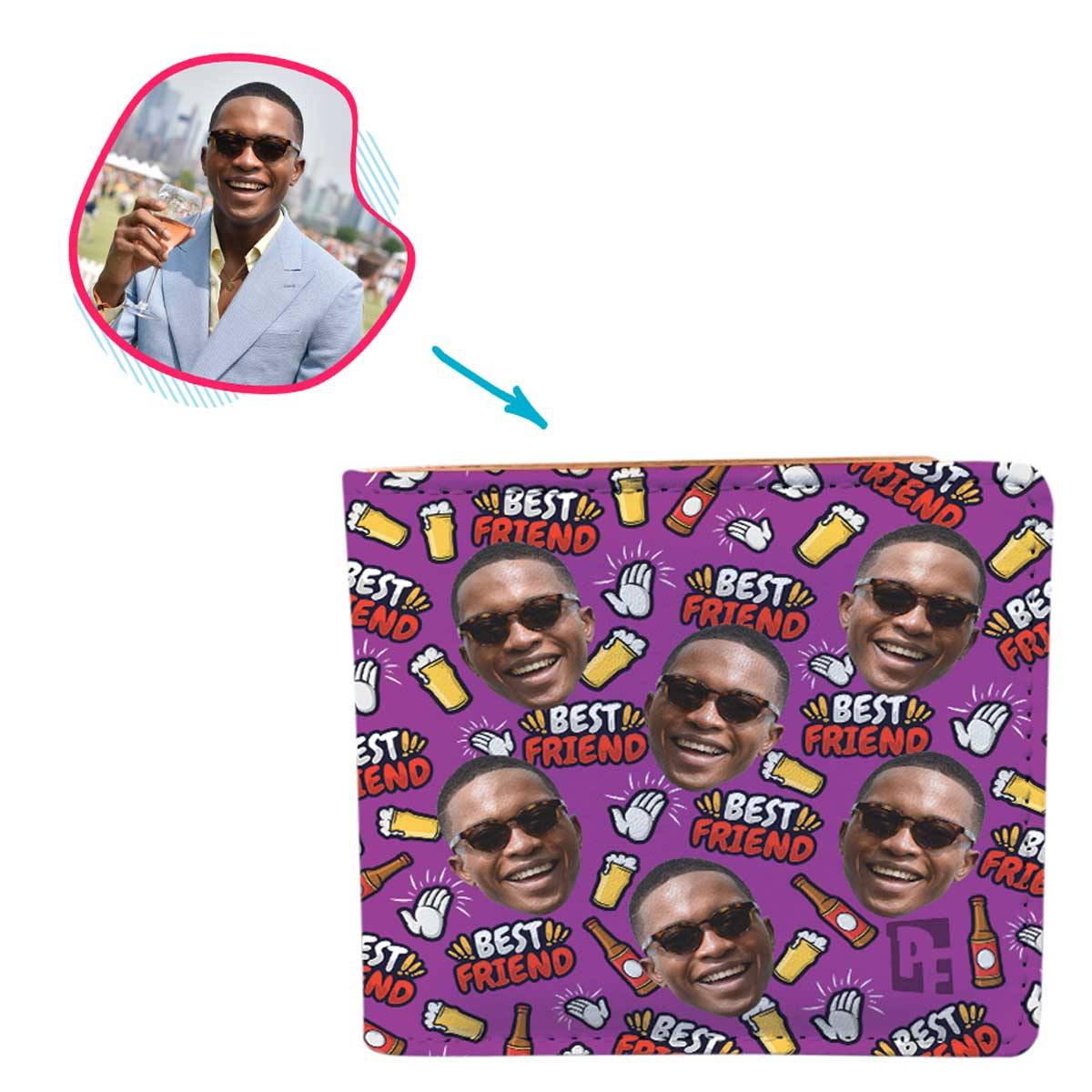 purple BFF for Him wallet personalized with photo of face printed on it