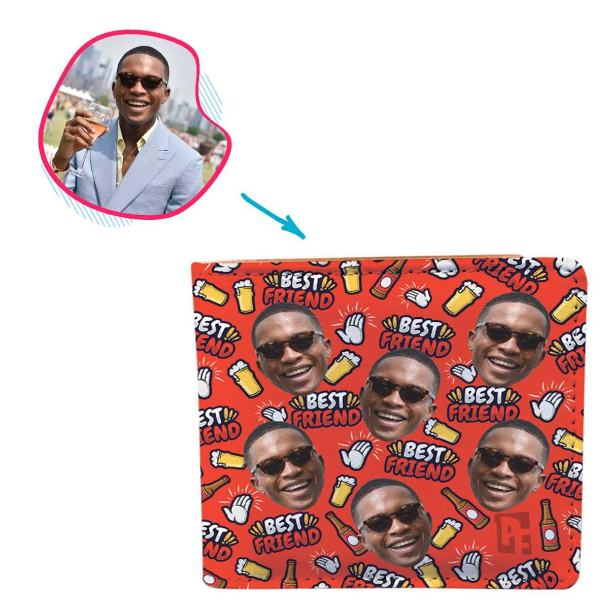 red BFF for Him wallet personalized with photo of face printed on it