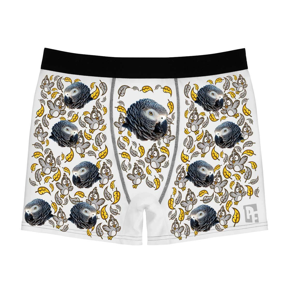 White Bird men's boxer briefs personalized with photo printed on them