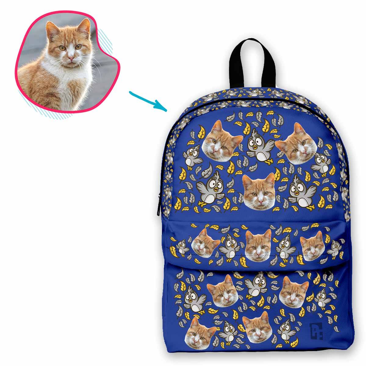 darkblue Bird classic backpack personalized with photo of face printed on it